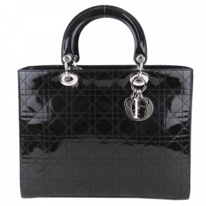 Dior Cannage Patent Leather Lady Dior Satchel