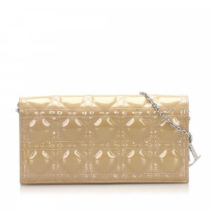 Dior Cannage Patent Leather Wallet on Chain