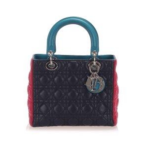 Dior Cannage Tri-Color Lady Dior Leather Satchel
