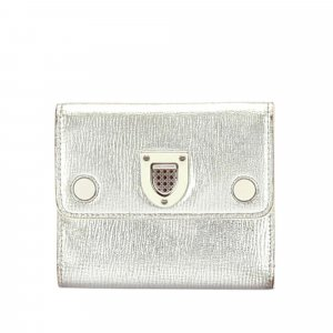 Dior Wallet silver-colored leather