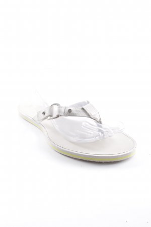 Dior Flip Flop Sandalen wollweiß Logo-Applikation aus Metall