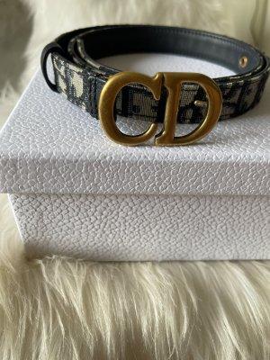 Dior Cinturón de cuero negro-azul oscuro