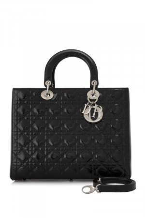 Dior Large Cannage Lady Dior Patent Leather Satchel