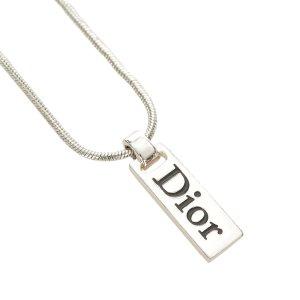 Dior Logo Plate Pendant Necklace