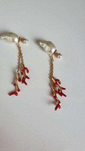 Dior Pendientes colgante rojo ladrillo-color oro metal