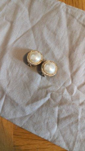 Christian Dior Clip d'oreille doré-blanc cassé