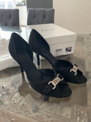 Dior Peep Toe Pumps zwart Linnen