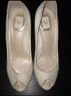Christian Dior Peep Toe Pumps oatmeal