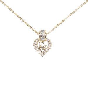 Dior Rhinestone Heart Pendant Necklace