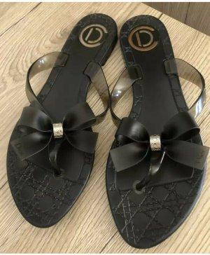 Dior Tong noir-argenté polyuréthane