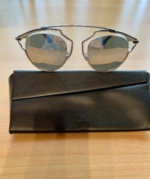 Christian Dior Okulary retro srebrny-czarny