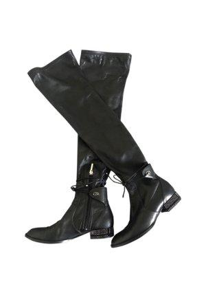 Dior Buty nad kolano czarny Skóra