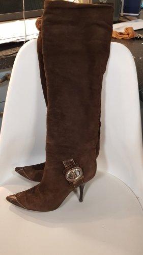 Christian Dior Bottes à talon haut doré-brun