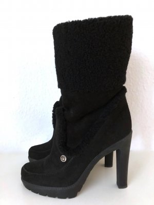 DIOR Stiefel Schwarz 39,5 Lammfell Veloursleder Stiefeletten High Heels Boots Black 39