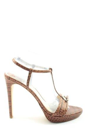 Dior Zapatos de tacón con barra en T marrón-crema estampado de animales