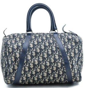Dior Bowling Bag dark blue-oatmeal textile fiber