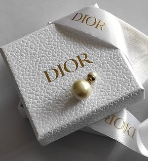 Dior Boucles d'oreilles en perles doré-crème
