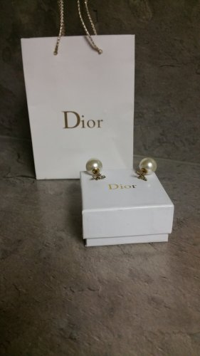 Christian Dior Pearl Earring white-bronze-colored