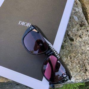 Dior Hoekige zonnebril zwart-roze kunststof