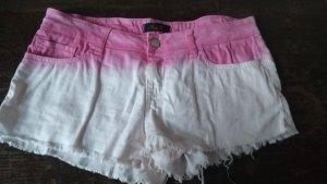 Short en jean blanc-rose