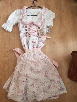 Golden Trachten Vestido Dirndl blanco-color rosa dorado