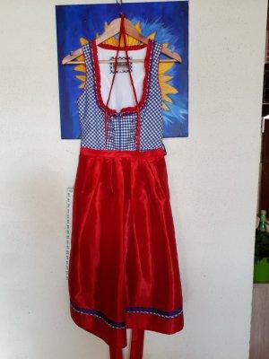 Alpin de luxe Vestido Dirndl rojo-azul