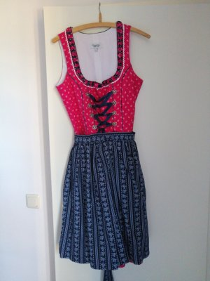 Country Life Dirndl rosso lampone-blu