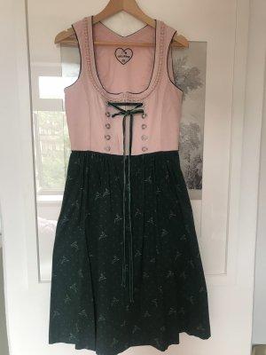 Hallhuber Dirndl rosa chiaro-verde bosco