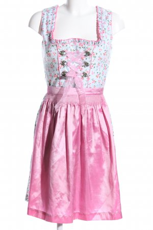 Vestido Dirndl rosa-blanco estampado repetido sobre toda la superficie