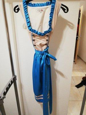 Vestido tradicional beige-azul acero