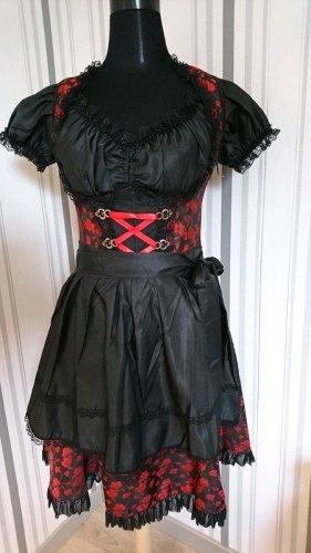 Dirndl nero-rosso Tessuto misto