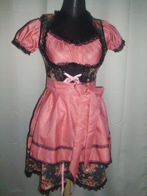 Dirndline Vestido Dirndl negro-rosa Poliéster