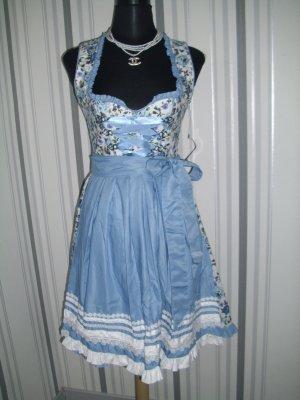 Dirndl (70041) in weiß/blau Größe XL = 42 mit Blumenmuster