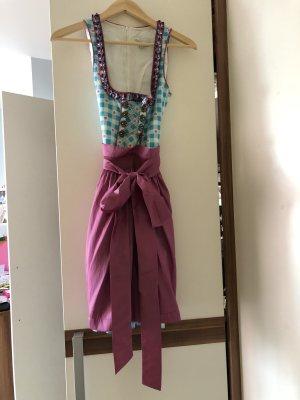 Vestido Dirndl azul acero-rosa