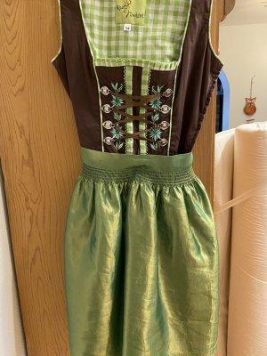 Alpin Trachten Robe à bretelles vert gazon-gris brun