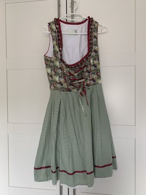 Alpenfee Vestido Dirndl verde-rojo oscuro