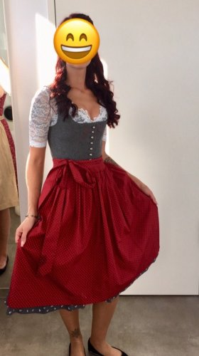 Angermaier Dirndl grey-dark red