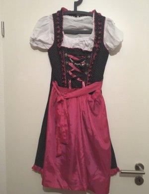 Almenrausch Vestido Dirndl negro-rosa