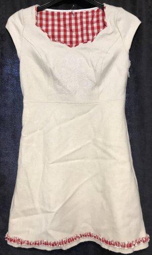 Blutgeschwister Vestido de lana blanco puro-rojo