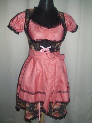 Dirndl (B70001) Größe XS = 34 in schwarz/rosa inkl bluse