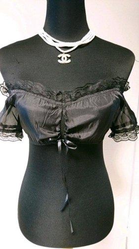 Dirndl Bluse 70005 Größe XS (34) schwarz transparent