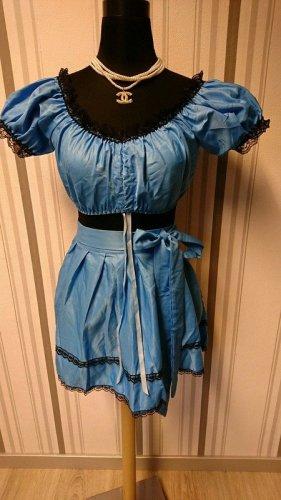Blusa tradizionale blu neon Tessuto misto