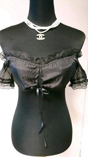 Dirndl Bluse (B70005) Größe XXL = 42/44 schwarz transparent