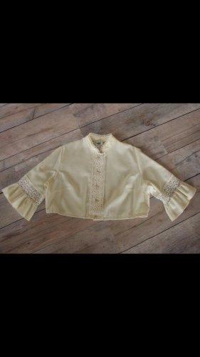 Dirndl Bluse cremefarben in Gr. 40 mit aufwendiger Spitze