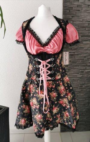 Dirndl Bluse Schürze Denim Rosenprint Trachtenkleid Blumen Rüschen Ösen Tracht Dirndlkleid