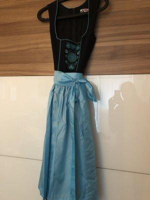 Alphorn Dirndl black-baby blue cotton