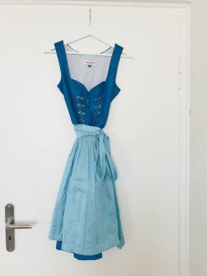 Dirndl echte Seide blau mit Schürze und Bluse Gr.34