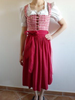 Berwin & Wolff Dirndl bianco-rosso lampone