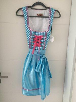 Stockerpoint Dirndl azzurro-rosa Cotone