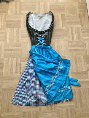 Dirndl, Gr. 32, blau/braun mit Tasche